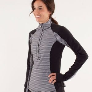 Lululemon Run U-Turn Pullover Striped 1/4 Zip
